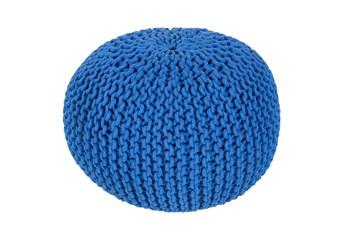 Pouf-Cabled Cobalt