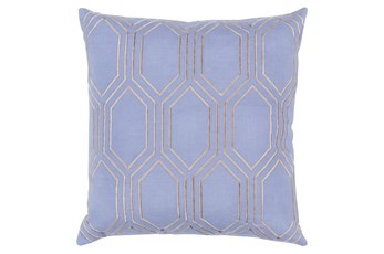 Accent Pillow-Natalie Geo Sky Blue/Light Grey 18X18
