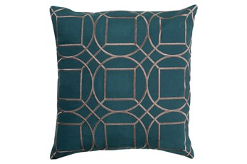 Accent Pillow-Nessa Geo Teal/Light Grey 18X18