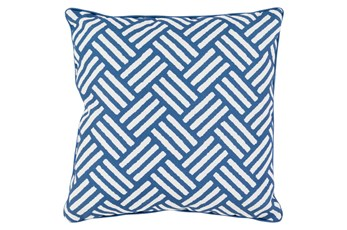 Accent Pillow-Crossweave Geo Cobalt/Ivory 20X20