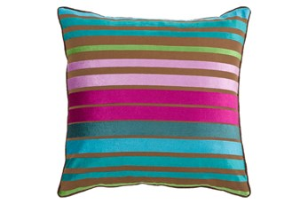 Accent Pillow-Riley Velvet Teal Multi Stripe 22X22