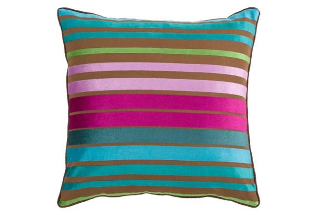 Accent Pillow-Riley Velvet Teal Multi Stripe 22X22 - 360