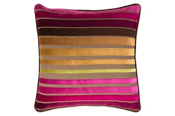 Accent Pillow-Riley Velvet Magenta Multi Stripe 22X22