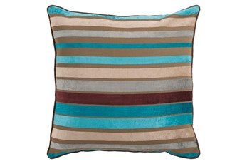 Accent Pillow-Riley Velvet Blue Multi Stripe 18X18