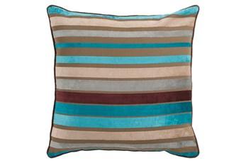 Accent Pillow-Riley Velvet Blue Multi Stripe 22X22