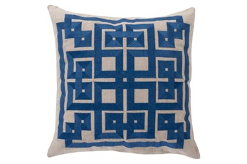 Accent Pillow-Trina Beige/Navy 22X22