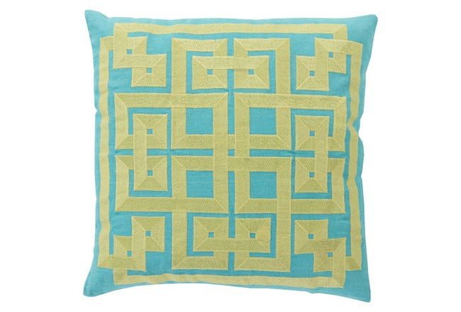 Accent Pillow-Trina Aqua/Lime 22X22 - 360