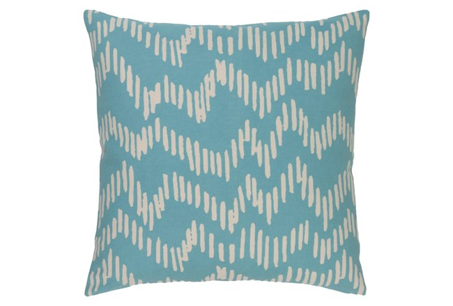 Accent Pillow-Charter Abstract Teal/Beige 18X18 - 360