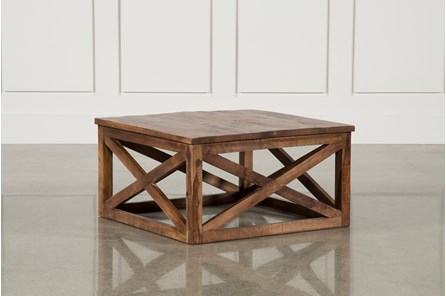Tan Finish Square Coffee Table