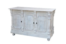 "White Wash Finish 3-Door 60"" Sideboard"