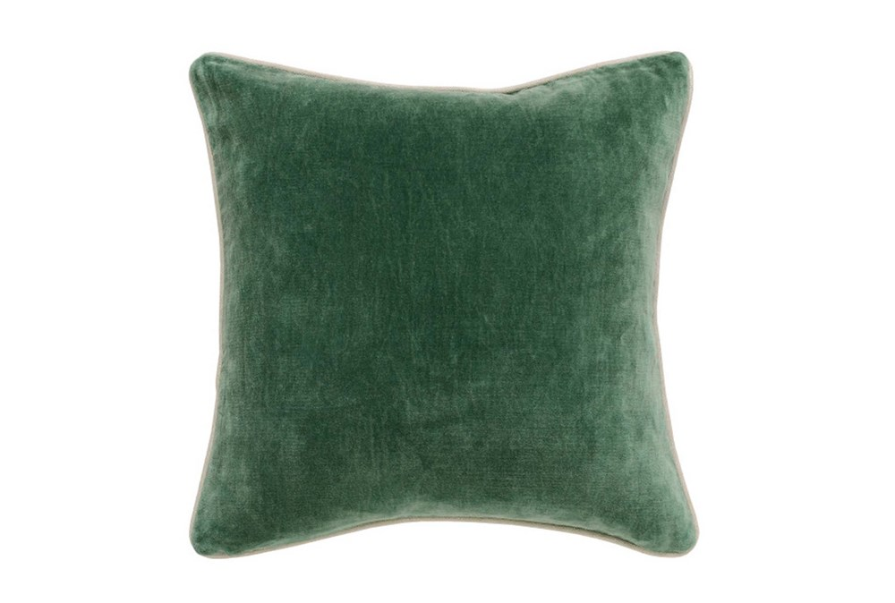 Accent Pillow-Green Washed Velvet 18X18