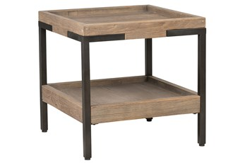Natural Wood & Iron Square End Table