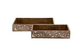 2 Piece Set Wood Trays