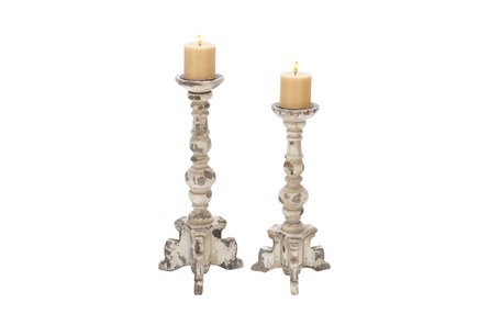 2 Piece Set Wood Candleholders