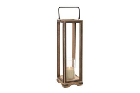 31 Inch Wood Metal Glass Lantern