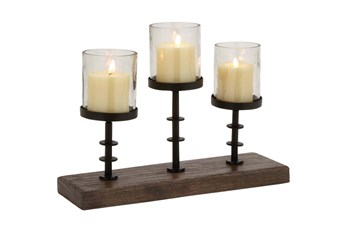 12 Inch Wood Metal Glass Candelabra