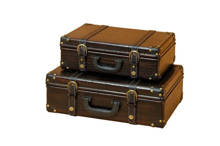 2 Piece Set Wood Leather Boxes