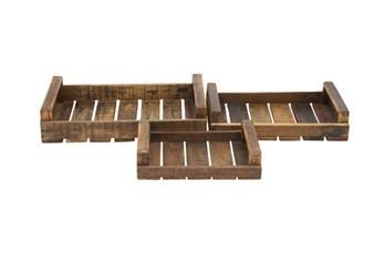 3 Piece Set Wood Trays