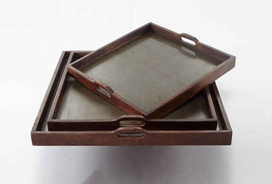 3 Piece Set Honey Finish Vintage Trays