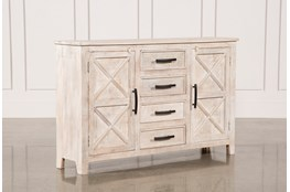 White Wash 4-Drawer/2-Door Chest