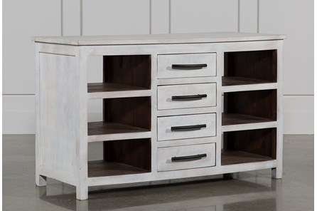 White Wash 8-Drawer Kitchen Island