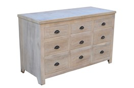 White Wash 9-Drawer Chest