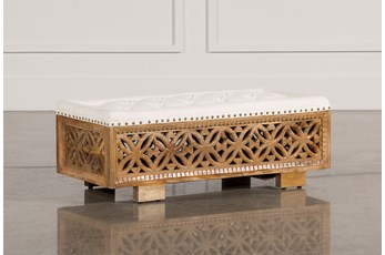 Antique Paint Rectangular Table Ottoman