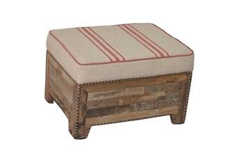 Linen Striped Ottoman
