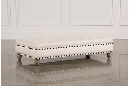 Natural Grey Tufted Ottoman