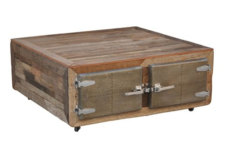 Galvanized Vintage Finish 4-Door Square Coffee Table