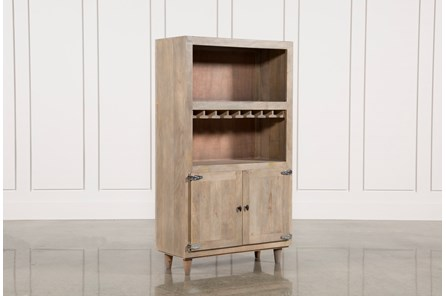Natural Grey Wash Finish 2-Door Wine Cabinet
