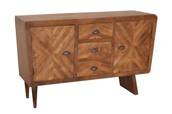 Natural Antique Finish 2-Door/3-Drawer Console