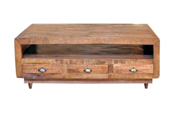 Antique Walnut Finish 6-Drawer Rectangular Coffee Table