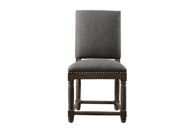 Reclaimed Grey Dining Chair W/Granite Nailheads - 360