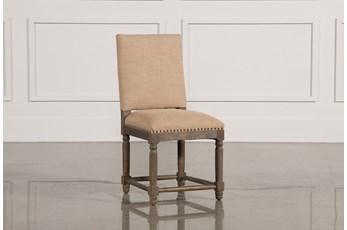 Reclaimed Grey Dining Chair W/Travertine Nailheads