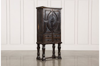 Antique Black 80 Inch Tall Armoire