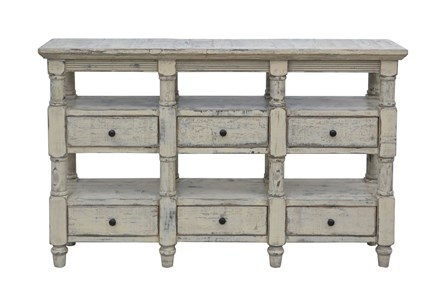 Cream 6-Drawer Console