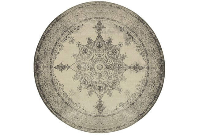 94 Inch Round Rug-Picabo Charcoal - 360