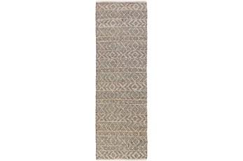 30X96 Rug-Diamond Stripe Dark Grey