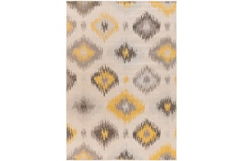 80X116 Rug-Yellow/Grey Ikat