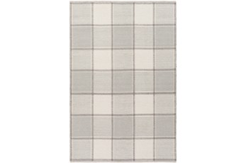 24X36 Rug-Grey Plaid Flatweave