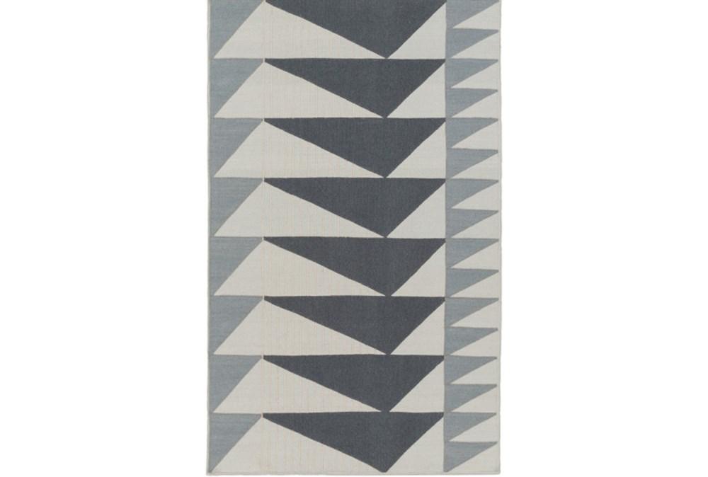 24X36 Rug-Charcoal Triangle Flatweave