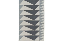 24X36 Rug-Charcoal Triangle Flatweave