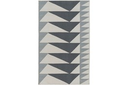 48X72 Rug-Charcoal Triangle Flatweave
