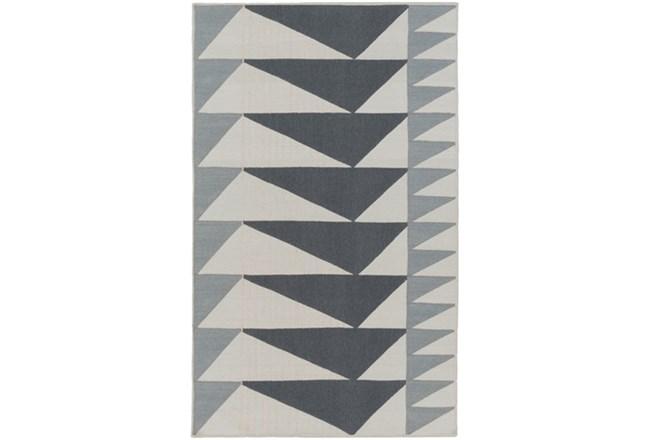 48X72 Rug-Charcoal Triangle Flatweave - 360