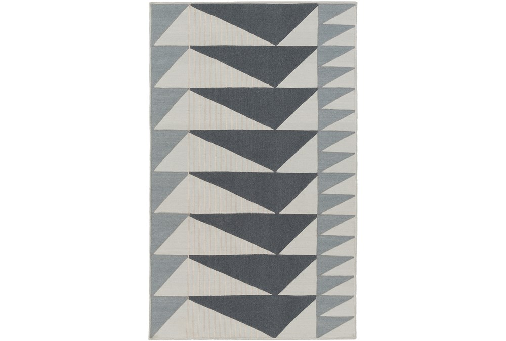 60X90 Rug-Charcoal Triangle Flatweave
