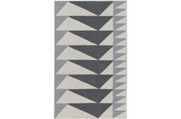 60X90 Rug-Charcoal Triangle Flatweave