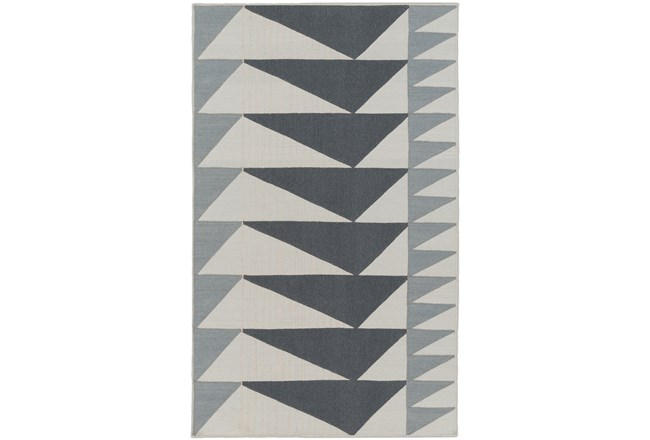 60X90 Rug-Charcoal Triangle Flatweave - 360