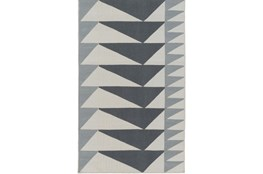 96X120 Rug-Charcoal Triangle Flatweave