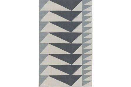 96X120 Rug-Charcoal Triangle Flatweave